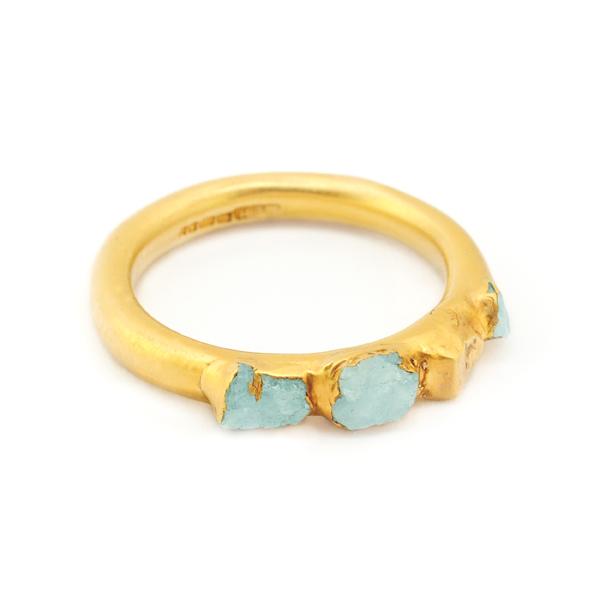 3. Mabel Hasell - Gold plated aquamarine crystal ring.jpg