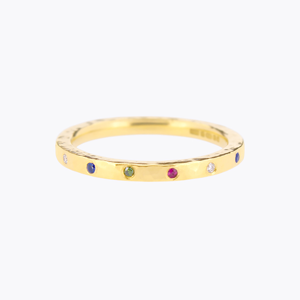 7. Mabel Hasell 18ct yellow gold textured band multi-stone.jpg