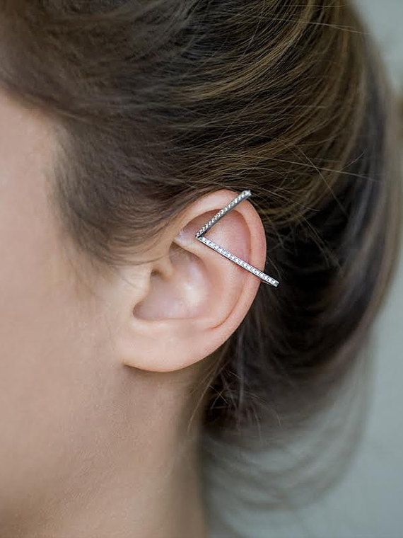 Adi Lev Design | Sterling Silver Ear Cuff with Cubic Zirconia