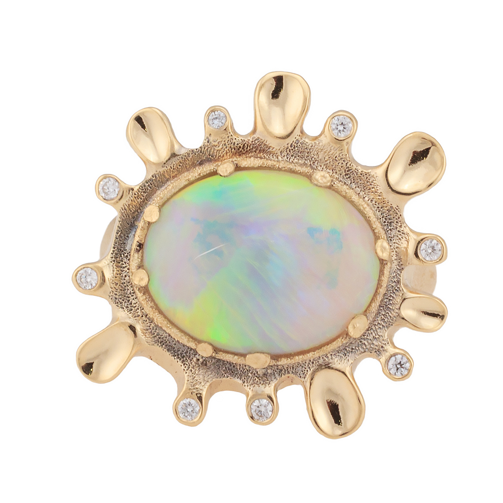 Dawn. 4.63ct White Opal, 18K  yellow gold and white diamond ring.jpg