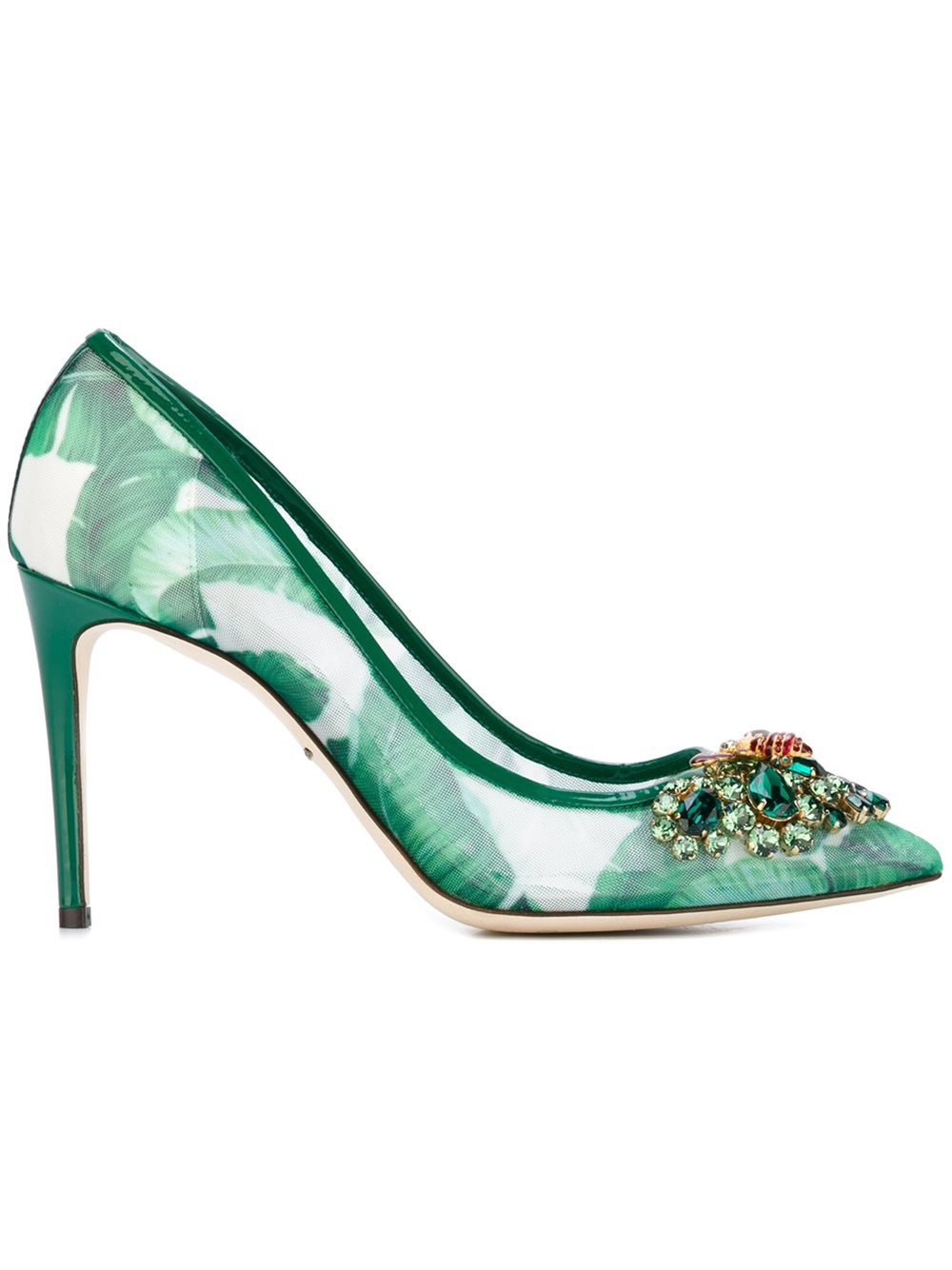 Dolce & Gabbana Embellished banana leaf printed pumps, FarFetch.com