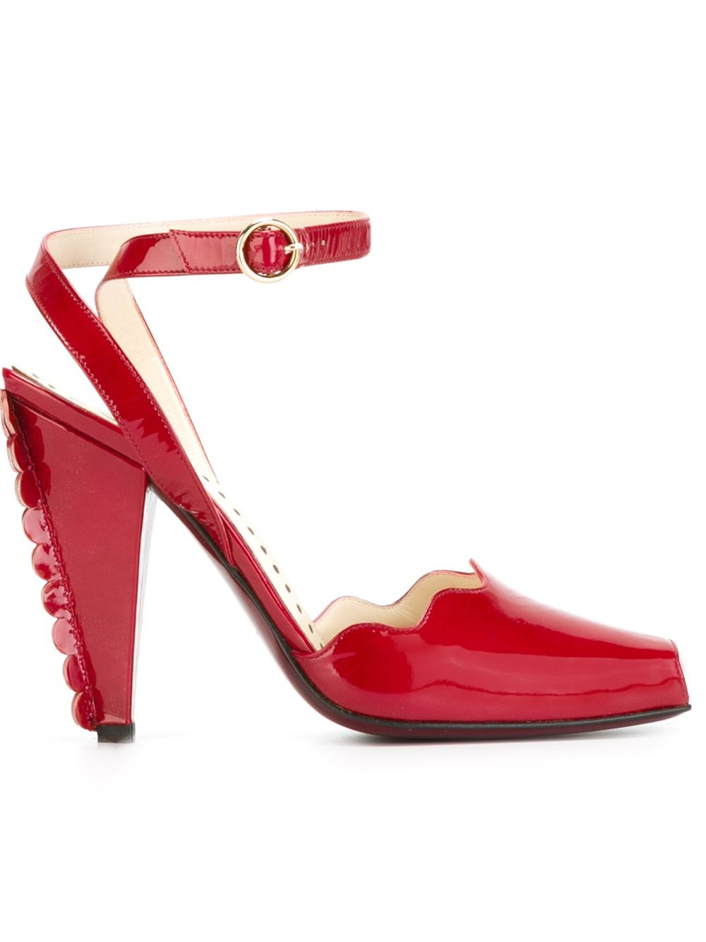 Yves Saint Laurent Vintage scalloped trim heel sandals, FarFetch.com