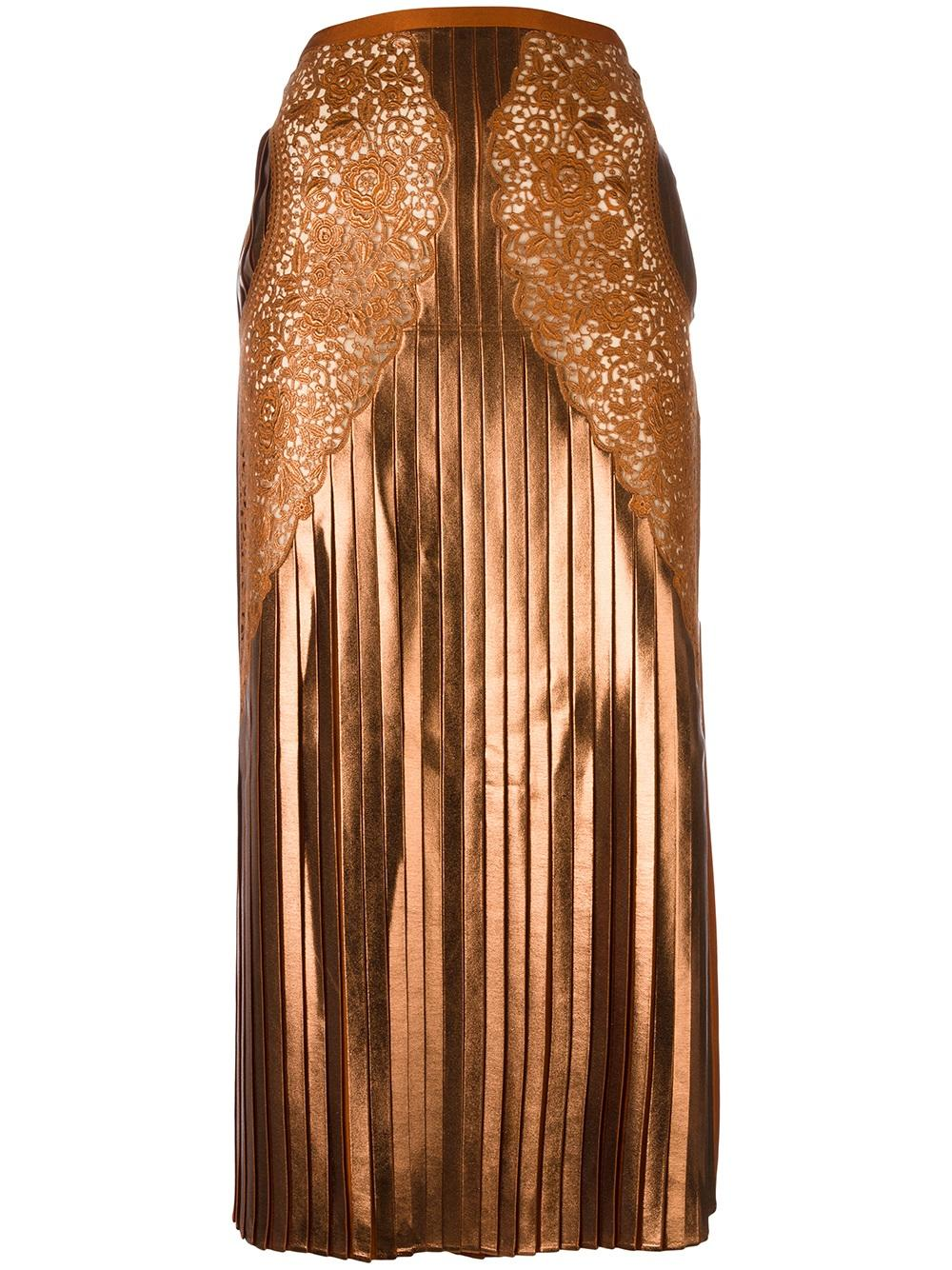 STELLA MCCARTNEY  pleated lace georgette skirt, FarFetch.com