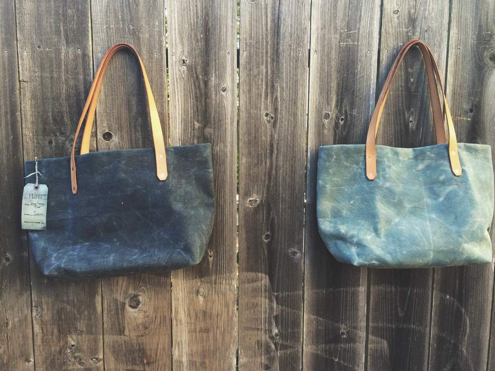 Waxed Indigo Canvas Totes
