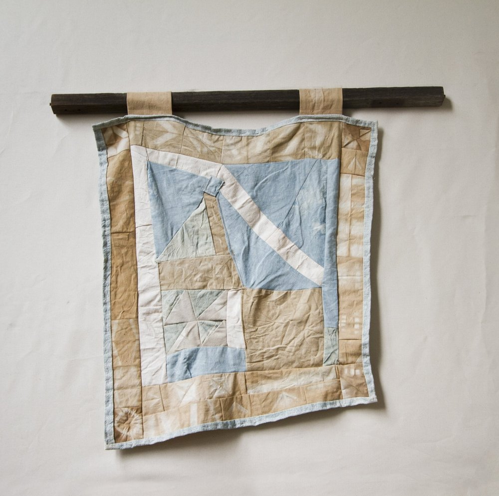 Pine Bark, Redwood Bark, Indigo, and Oak Galls dye on Canvas and Linen