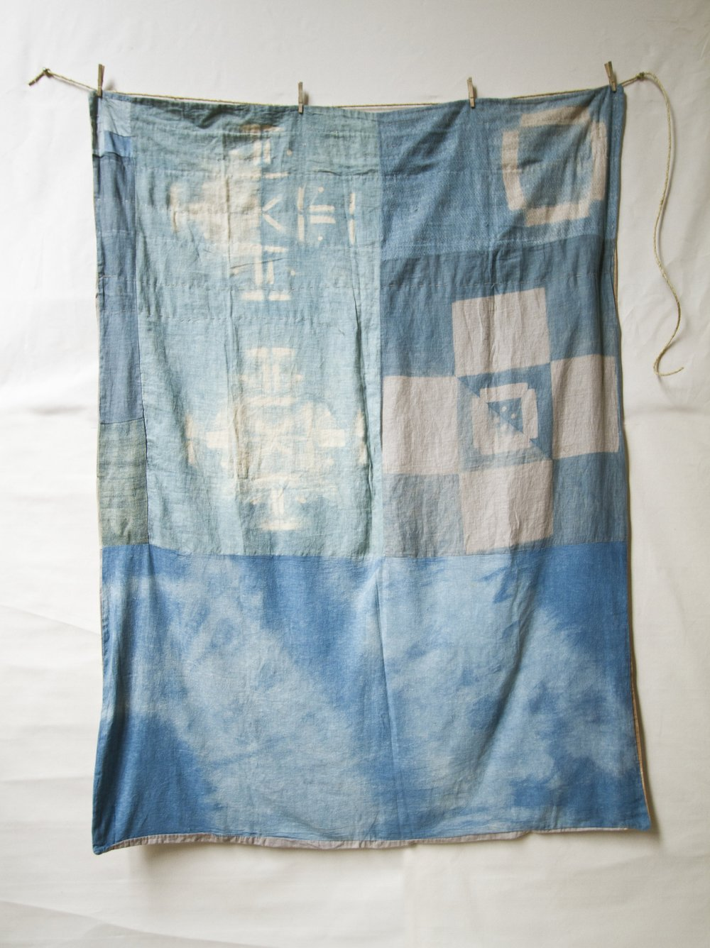 Back Indigo on Canvas, Linen, and Khadi