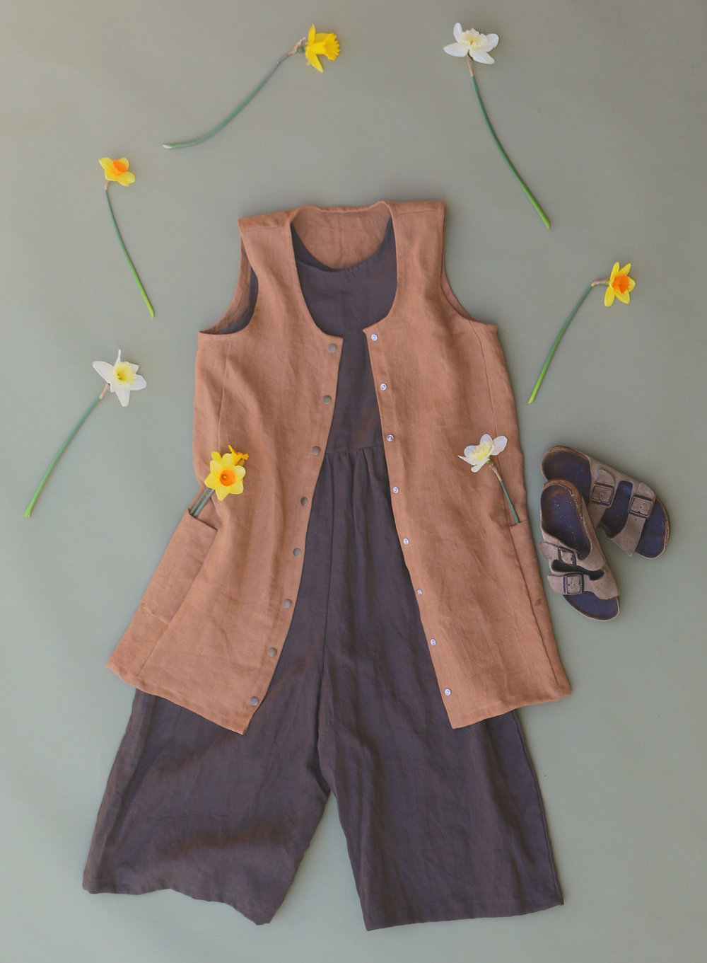 Snap Smock in Ginger, Backyard Jumpsuit in Olive