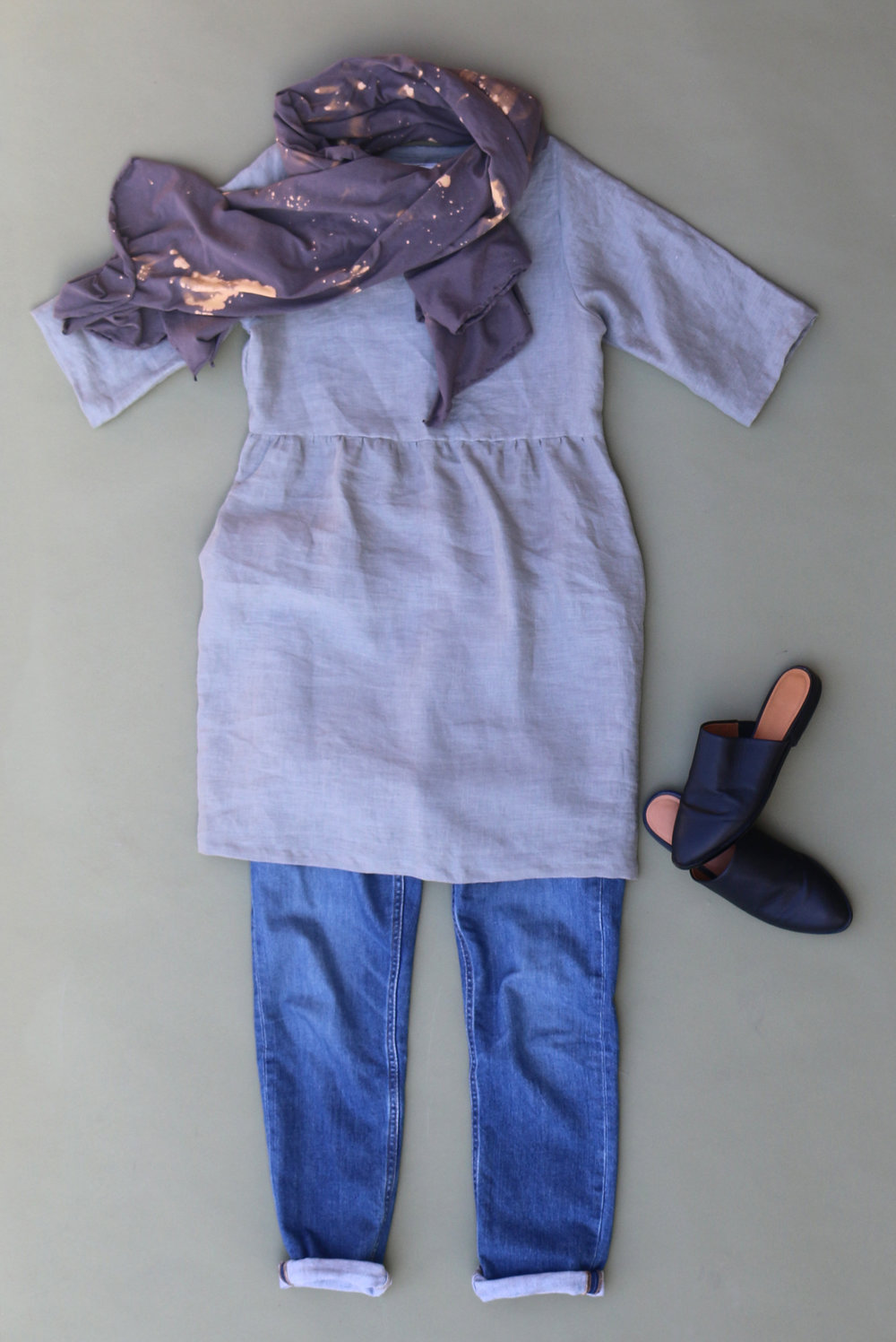 Backyard Jumpsuit in Sage, Dropcloth Shawl in Charcoal