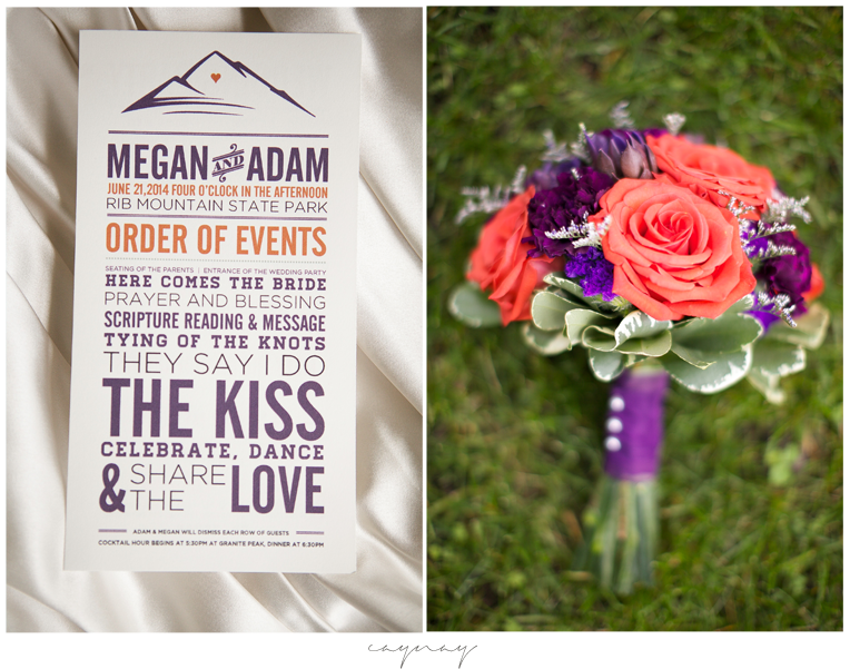 Flowers with red and purple. Wedding program with mountain and good typeface fonts