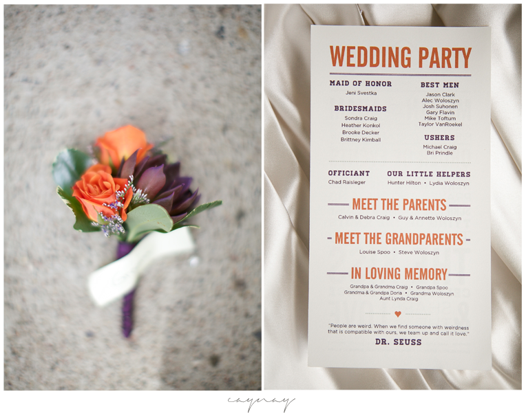 grooms boutonniere with purple, orange, and green. Wedding program with good typeface
