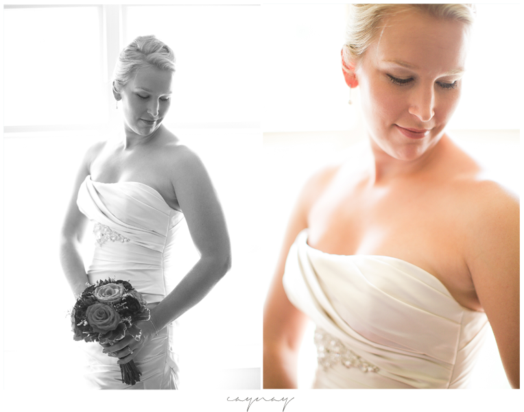 Bridal portraits in front of window. Natural light portraiture.