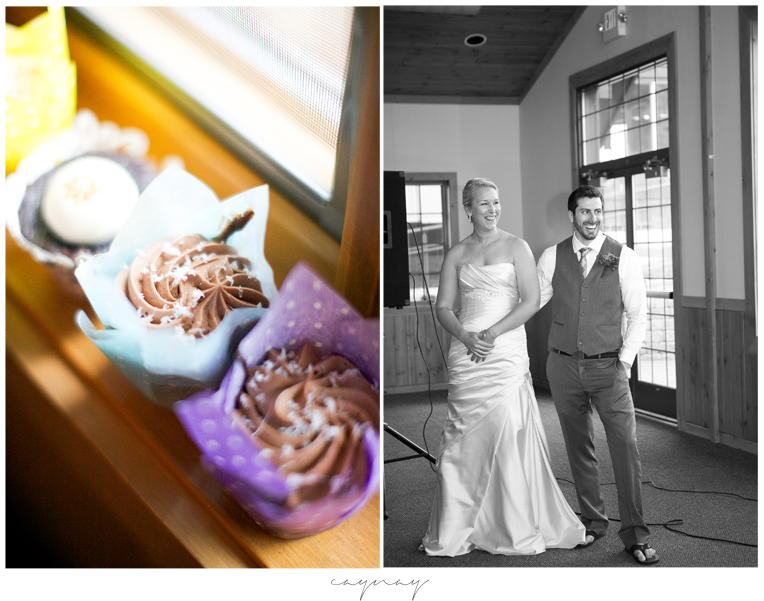 cupcakes at wedding. Bridal portrait during speeches. Black and white image. Laughter. Oyster colored satin wedding gown with beaded detail and pleats.