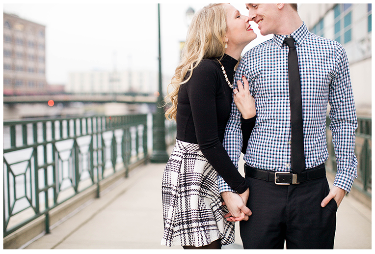 Milwaukee, Wisconsin Winter Engagement Session Riverfront Location