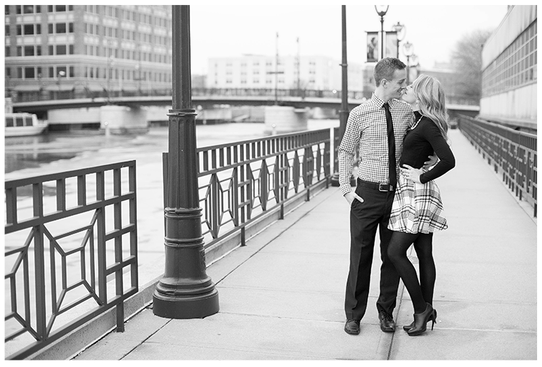 Milwaukee, Wisconsin Downtown Winter Holiday Light engagement Session