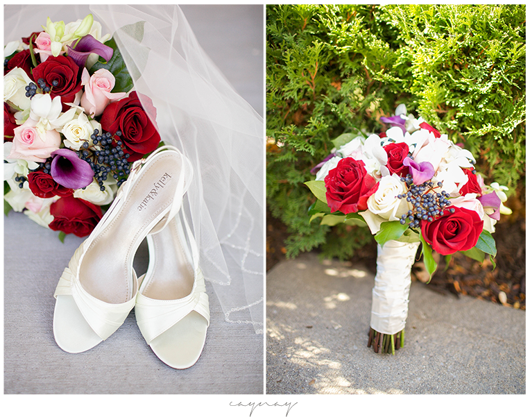 Rockford Illinois Catholic Wedding Shoes Veil and Flowers