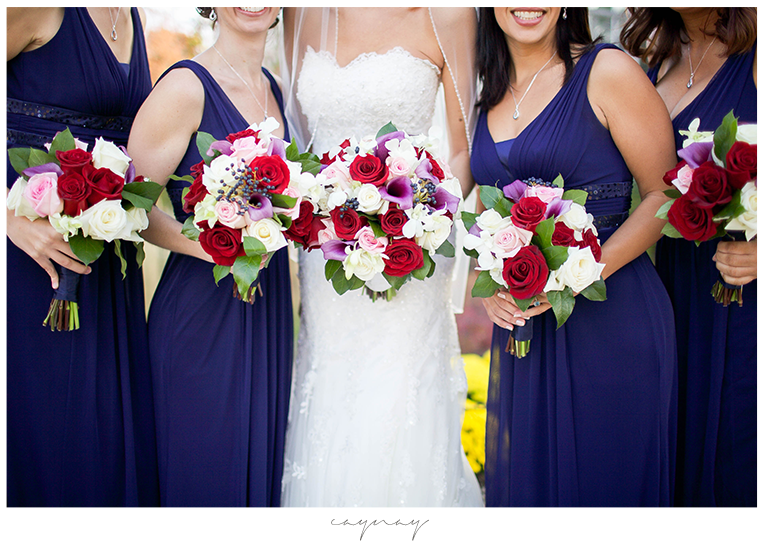 Rockford Illinois Catholic Wedding Navy bridesmaids flowers and bride