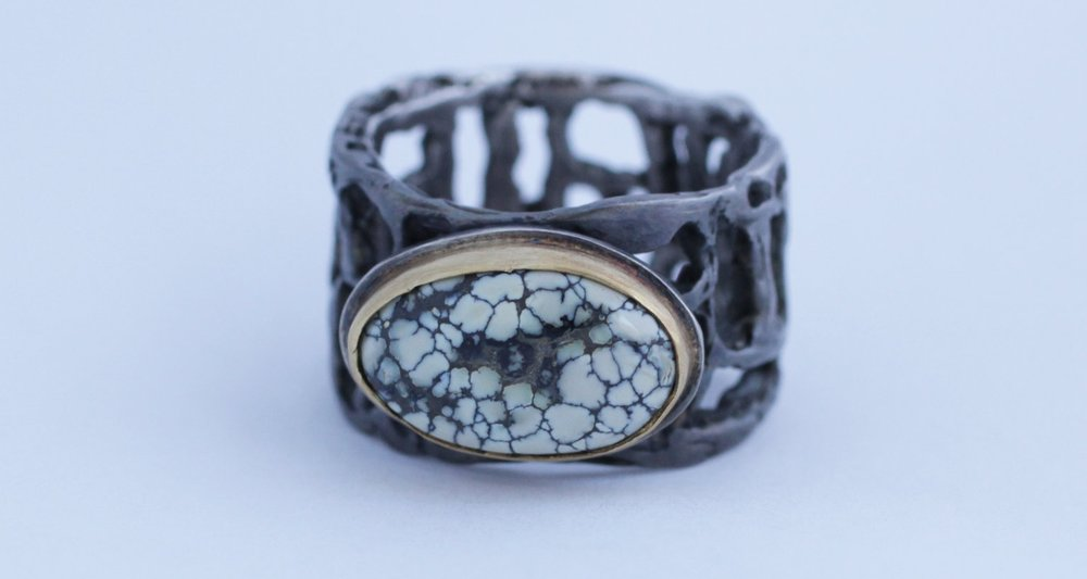 Brutalist New Lander Turquoise Ring in Silver and 22k Gold