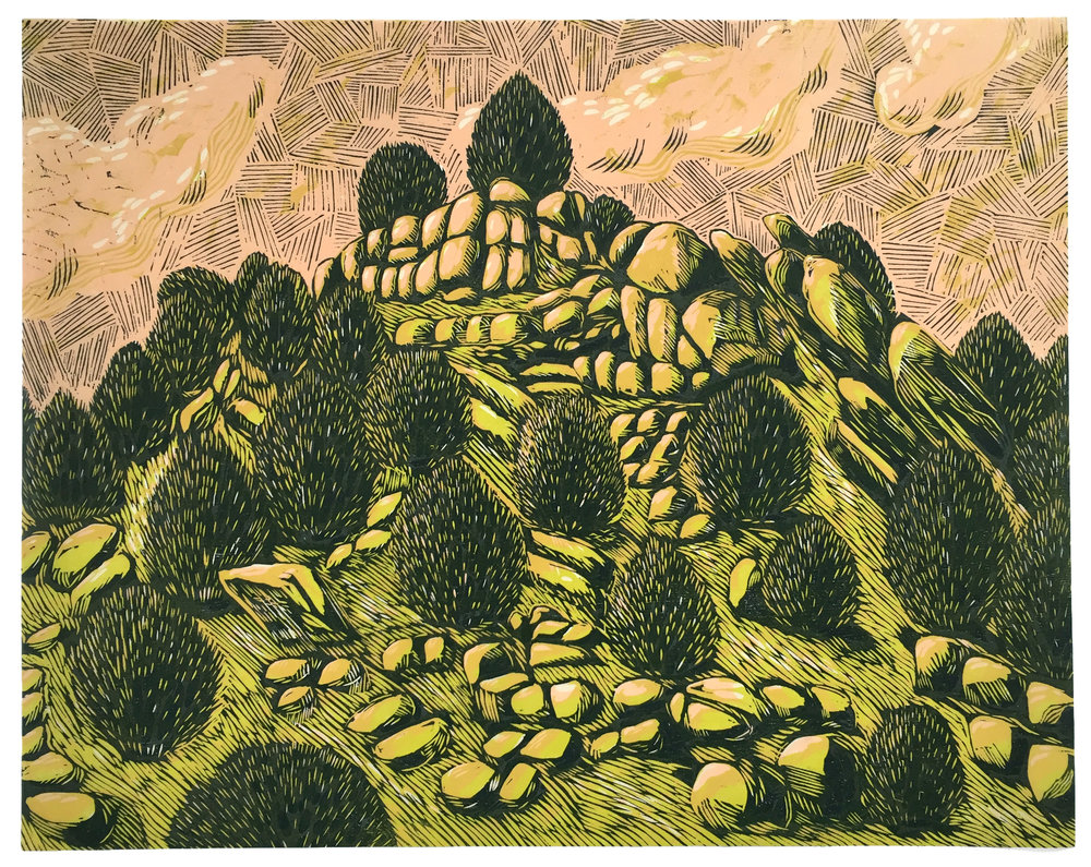 Jelm, Three block woodcut on Kitakata washi