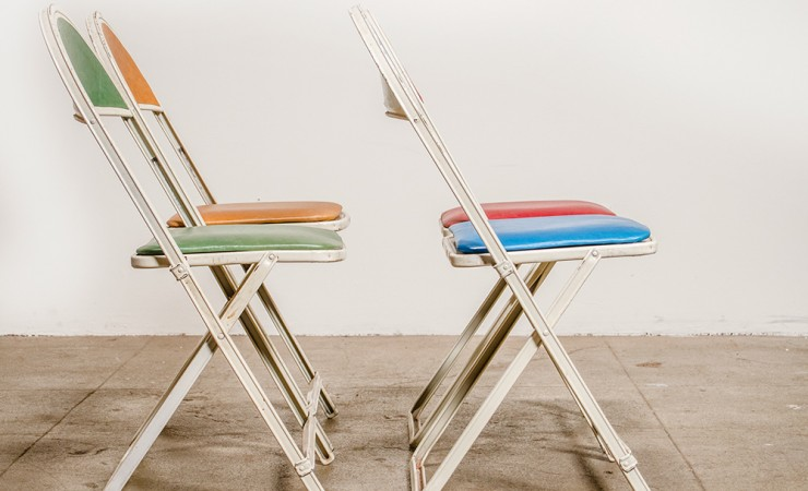 ... Vintage Folding Chairs With Leather 2 ...