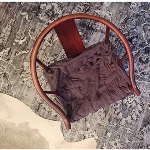 Aerial view of the last of our very first wrapped chair run.  Hand-tied to perfection, sitting pretty with @jamesafflatus.  So happy she's in good hands.  So flattered you love her so.😘. #interiordesign #fortgoods #reclaimed #reclaimedfurniture #sogood #santamonica