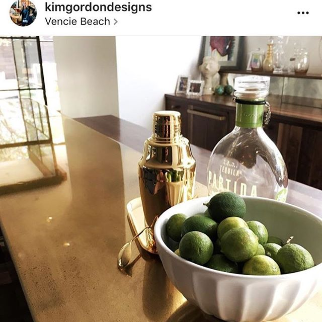 Such an honor to be included in this project for @kimgordondesigns.  This rehab house is what dreams are made of.  Your work is so inspirational!  Thank you for having us do this custom brass bar top.  It's been so fun working with you! #Venice #venicebeach #interiors #brass #happyhourLA #fortgoods #rehab #5oclocksomewhere  #snazzy