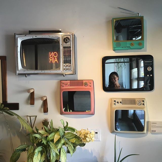 So smart.  In The Mission.  Love these reclaimed TV mirrors from Ramiro Cairo.  #reclaim #themissionsf #mapxsanfrancisco #fortgoods #interiors #interiordesign