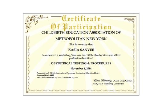 Certificates & Education — Honor Nature