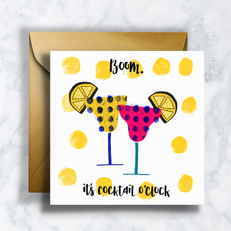 GREETING CARDS      GC-007    COCKTAIL OCLOCK   LD_ILLUSTRATION