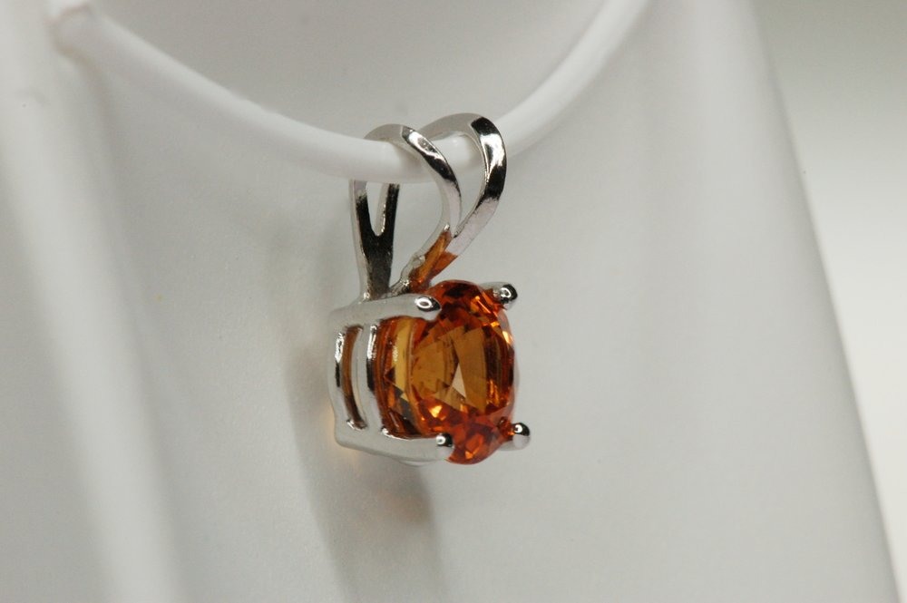 Orange sapphire pendant diamond brokerage jewelry store orange sapphire pendant aloadofball Image collections