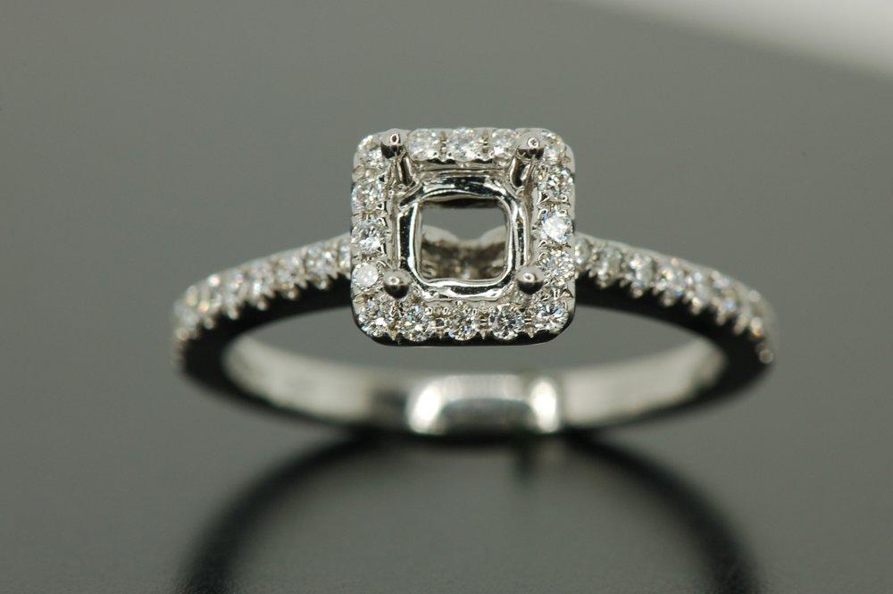 Diamond Halo Semi Mount Ring — Diamond Brokerage  428ca11750e4