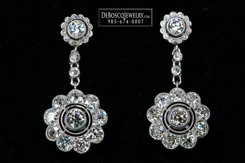 Circa 1950 S Vintage Platinum Diamond Earrings Diamond Brokerage Jewelry Store Jewelry Repair Wholesale Diamonds Mandeville La