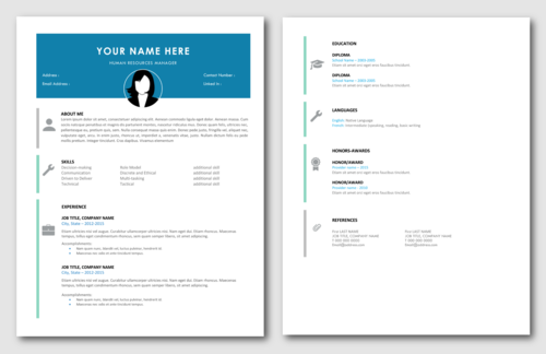 modern professional 2 page resume cover letter template pack - 2 Page Resume