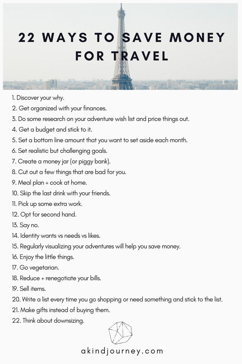 22 Ways To Save Money For Travel | akindjourney.com #TheKindBrands