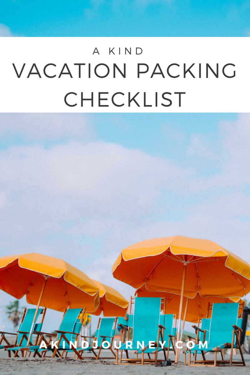 A Kind Vacation Packing Checklist | akindjourney.com #TheKindBrands