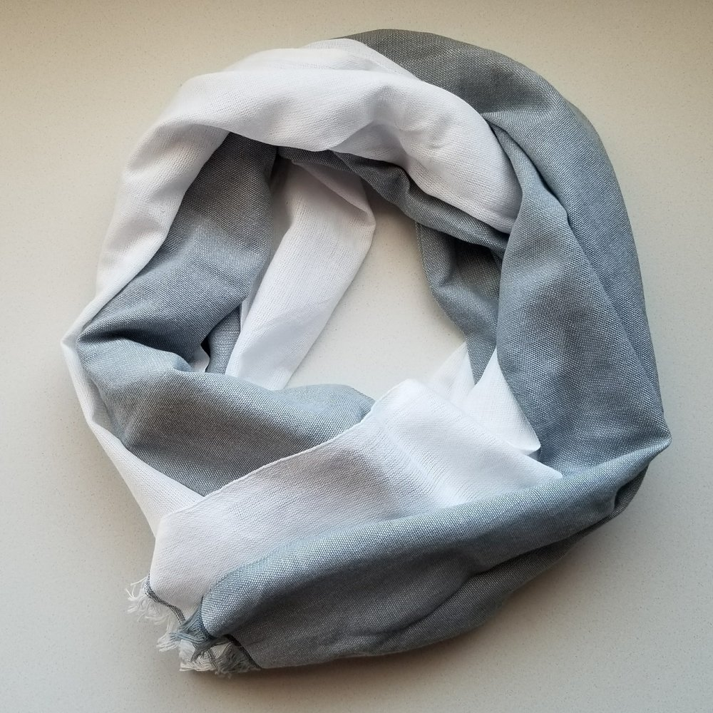 Alem Scarf in White & Mist Grey | akindboutique.com #TheKindBrands | Fair Trade Scarf