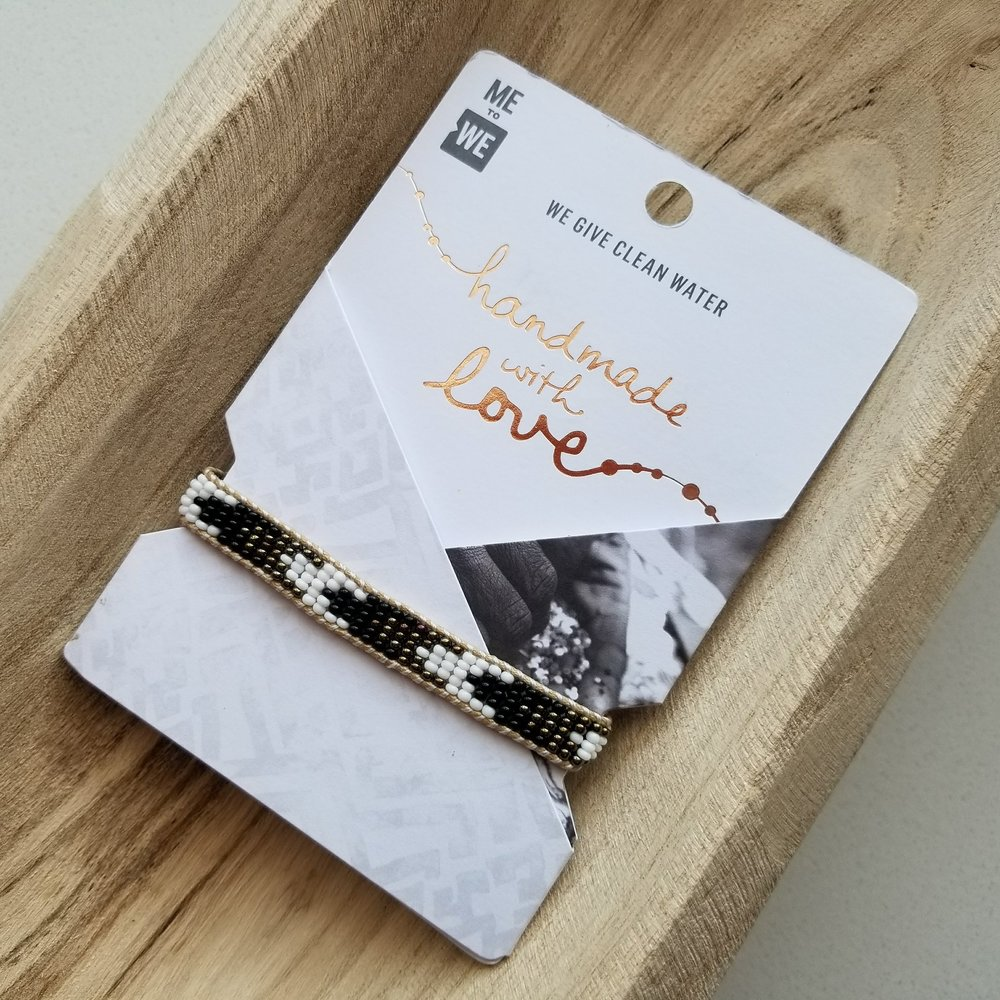 Mini Talengo Bracelet in Black + White (Chevron) | akindboutique.com #TheKindBrands | Fair Trade Bracelet