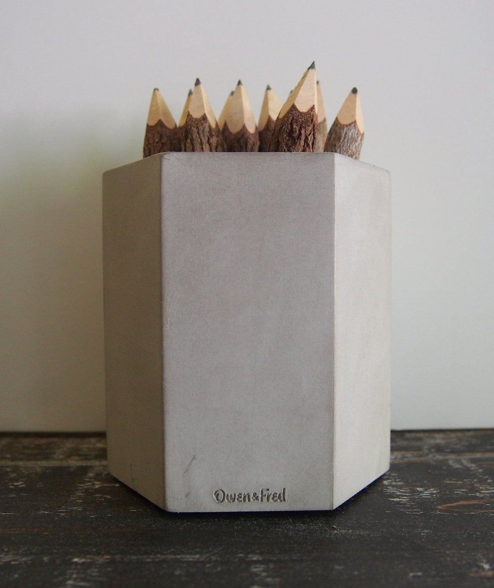 A Kind Boutique Made In The USA Hex Concrete Pen Cup | Kind Gift Guide akindjourney.com