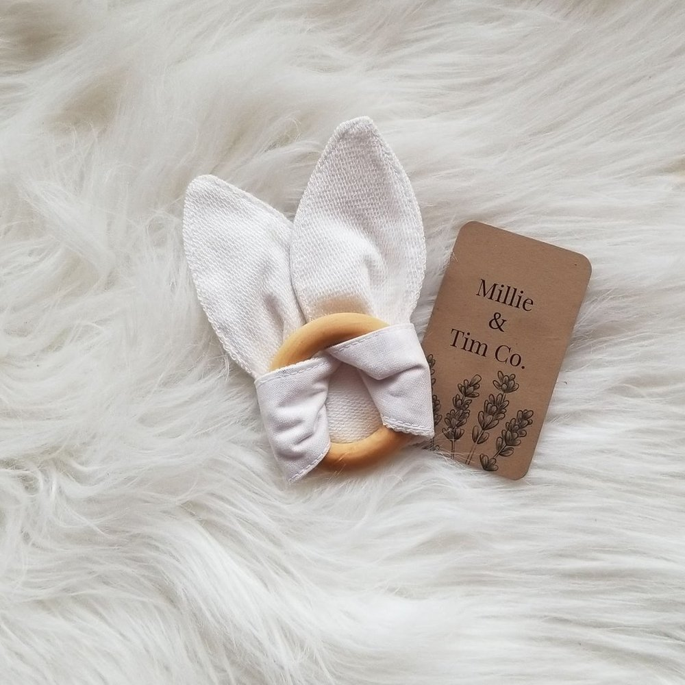 Bunny Ears Organic Teething Ring| Kind Gift Guide akindjourney.com