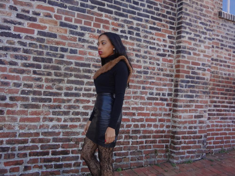Andrea Fenise styles vintage fur stole