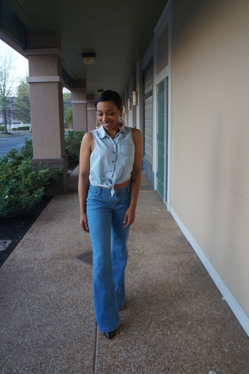 Andrea Fenise Memphis Fashion Blogger styles a denim on denim look