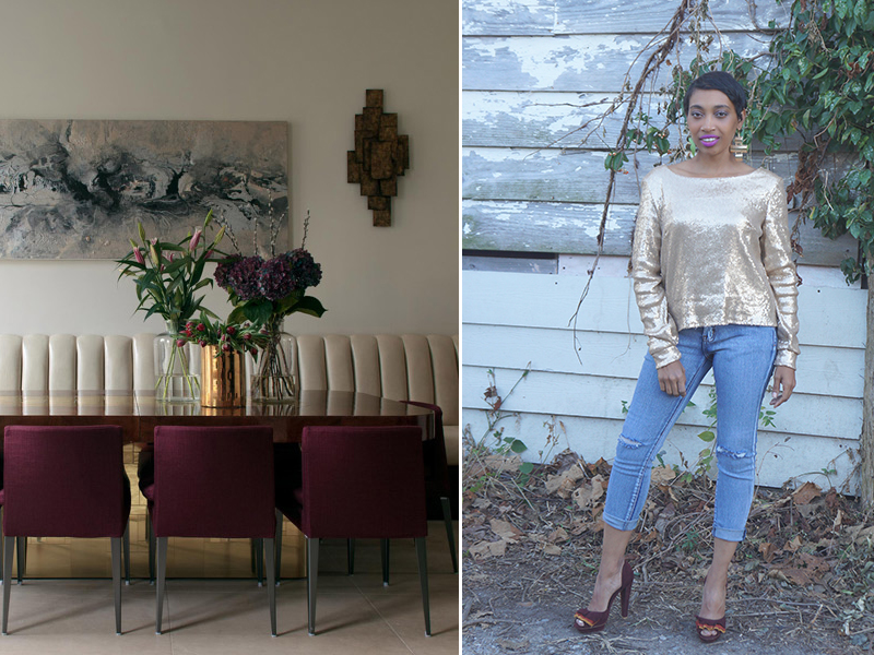 Andrea-Fenise-Turn-Your-Room-Into-An-Outfit-Maroon and Gold