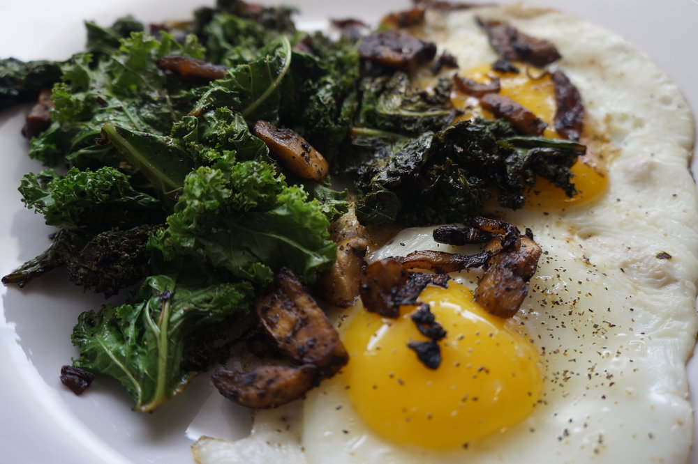 Andrea Fenise Memphis Food Blogger shares Sauteed Kale and Mushrooms with Eggs Recipe