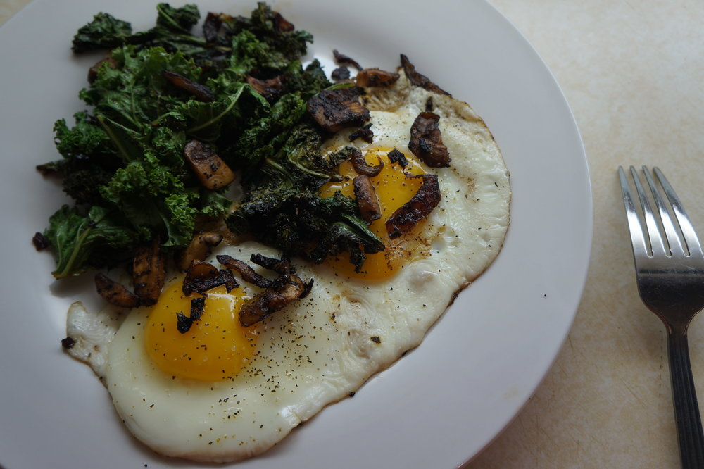 Andrea Fenise Memphis Food Blogger shares Sauteed Kale and Mushrooms with Egg Recipe
