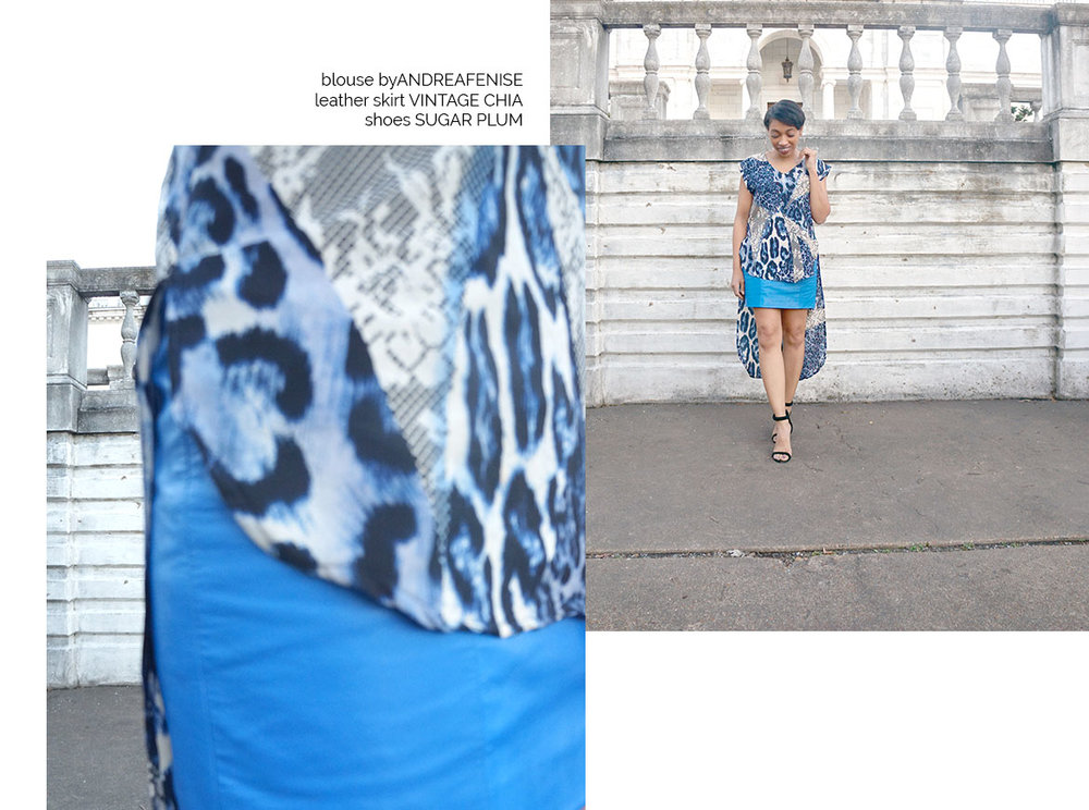 Andrea Fenise Memphis Fashion Blogger styles a vintage blue leather chia skirt