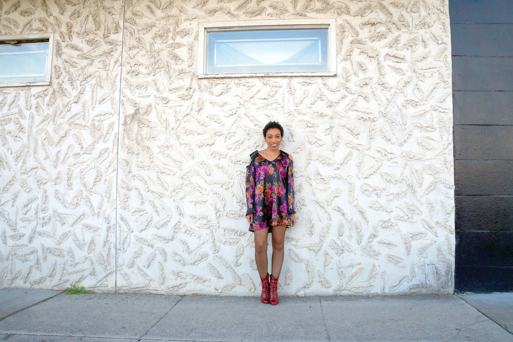 Andrea Fenise Memphis Fashion Blogger outfit of the day in a floral peasant dress
