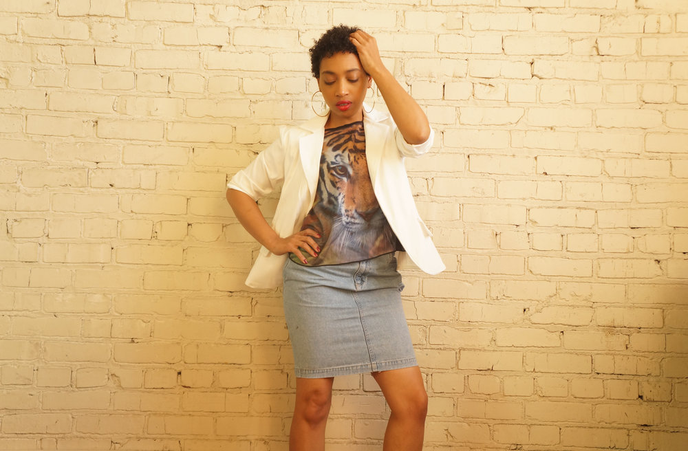 Andrea Fenise Memphis Fashion Bloggers styles a white blazer
