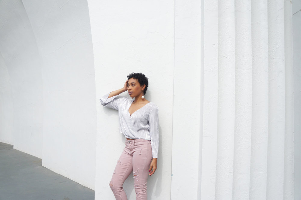 Andrea Fenise Memphis Fashion Blogger styles a metallic blouse