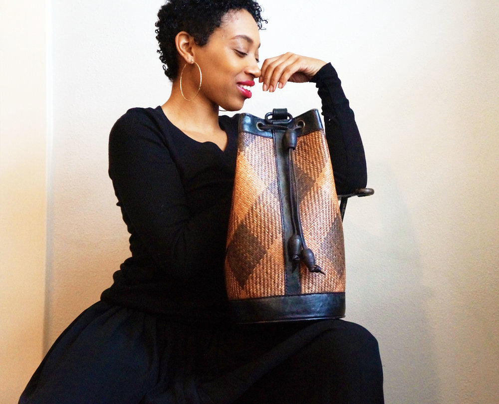 Andrea Fenise Memphis Fashion Blogger styles a vintage african bucket bag from Found Studio Memphis