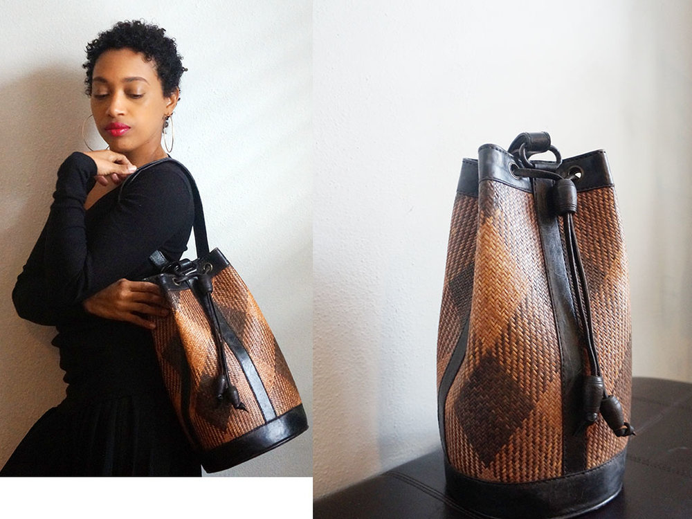 Andrea Fenise Memphis Fashion Blogger styles a vintage african bucket bag from Found Studio