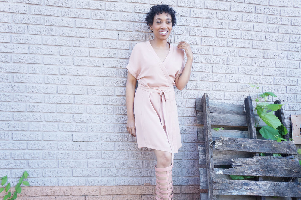 Andrea Fenise Memphis Fashion Blogger styles a blush shift dress by Tobi